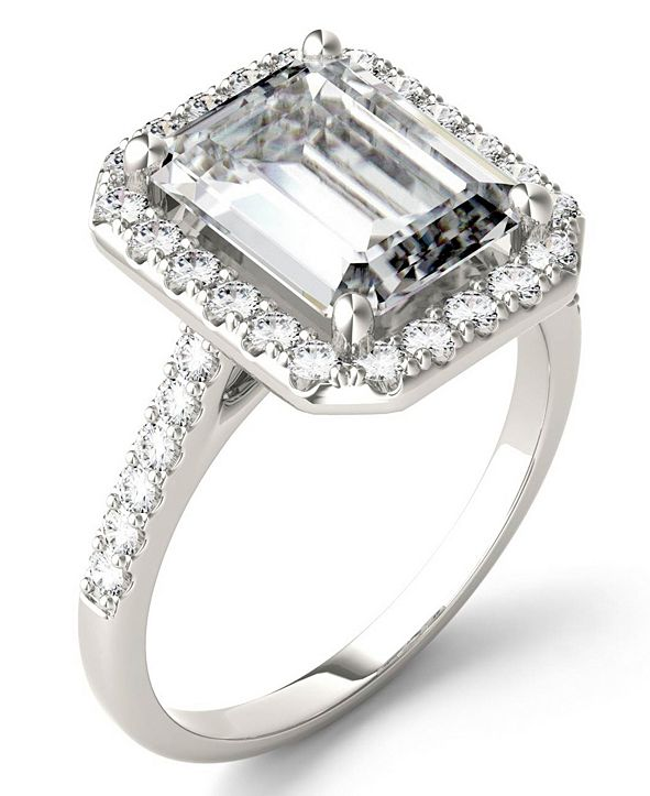 Charles & Colvard Moissanite Emerald Halo Ring (4 ct. tw. Diamond Equivalent) in 14k White Gold