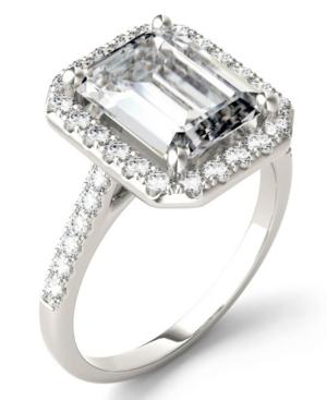 Moissanite Emerald Halo Ring (4 ct. tw. Diamond Equivalent) in 14k White Gold