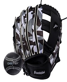 "Franklin Sports 9.5"" Rtp Teeball Performance Glove And Ball Combo Black/White-Right Handed Thrower"