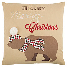 "Rizzy Home 20"" X 20"" Snow Bear Poly Filled Pillow"