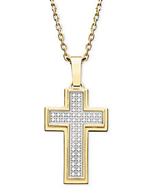Men's Diamond Cross Pendant Necklace in Gold Ion-Plated Stainless Steel (1/4 ct. t.w.)