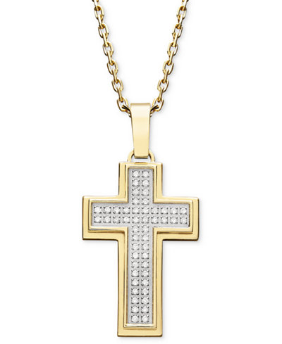Mens diamond cross pendant necklace in gold ion plated stainless mens diamond cross pendant necklace in gold ion plated stainless steel 14 aloadofball Gallery