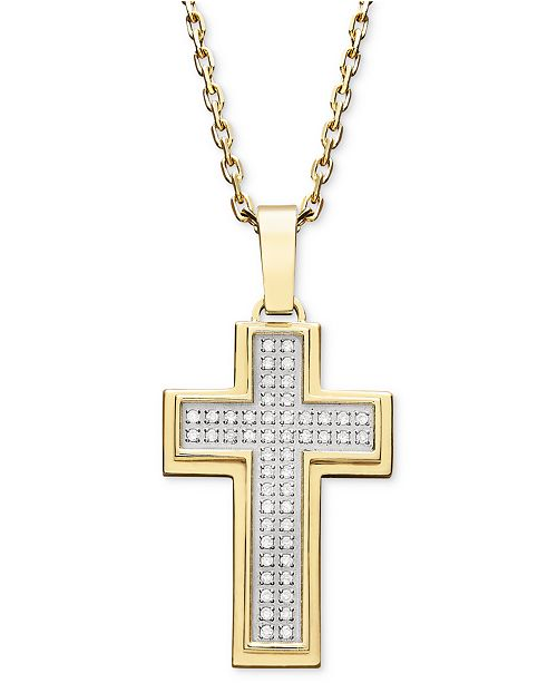 969cba81b71fb Macy's Men's Diamond Cross Pendant Necklace in Gold Ion-Plated ...