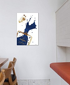 """Gold Perfume Bottle With Navy Blue Splash"" by Amanda Greenwood Gallery-Wrapped Canvas Print (26 x 18 x 0.75)"