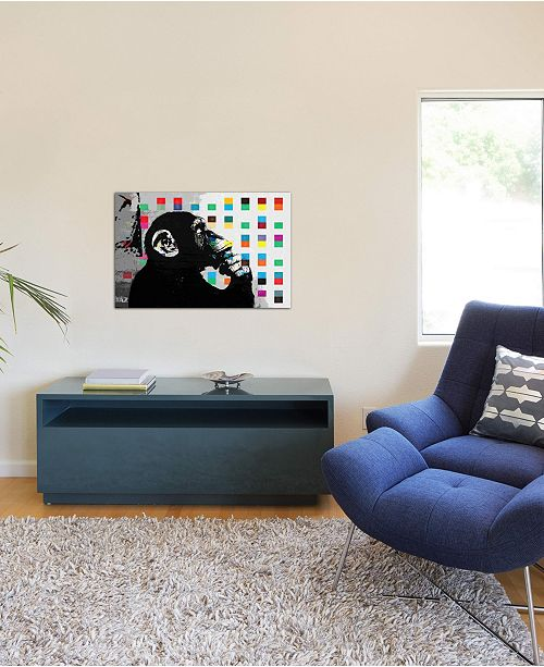 """iCanvas """"The Thinker Monkey Dots Close Up"""" by Banksy Gallery-Wrapped Canvas Print (26 x 40 x 0.75)"""