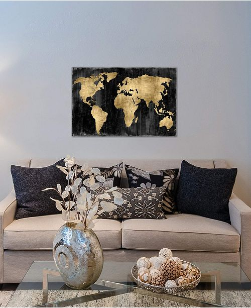 """iCanvas """"The World - Gold On Black"""" by Russell Brennan Gallery-Wrapped Canvas Print (18 x 26 x 0.75)"""