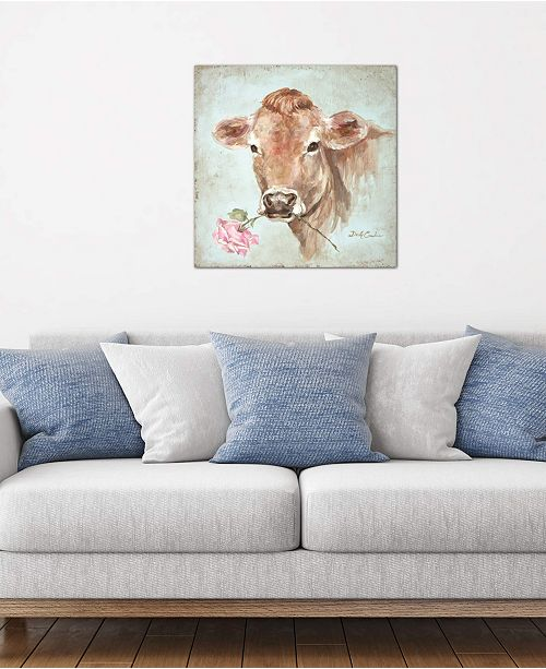 """iCanvas """"Cow With Rose"""" by Debi Coules Gallery-Wrapped Canvas Print (26 x 26 x 0.75)"""