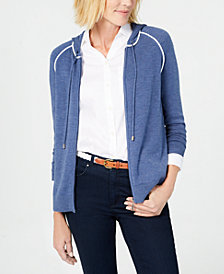 Charter Club Hooded Zip-Front Cardigan, Created for Macy's