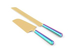 2 Piece Rainbow Iridescent Cake Knife and Server