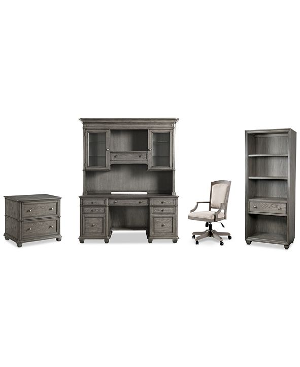 Furniture Sloane Home Office, 5-Pc. Set (Credenza, Hutch, Lateral File Cabinet, Open Bookcase & Upholstered Desk Chair), Created for Macy's