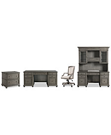 Sloane Home Office, 5-Pc. Set (Executive Desk, Credenza, Hutch, Lateral File Cabinet & Upholstered Desk Chair)