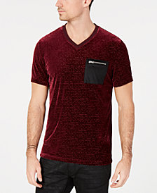 I.N.C. Men's Velvet Burnout Zip-Pocket T-Shirt, Created for Macy's