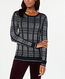 Tommy Hilfiger Metallic-Plaid Sweater, Created for Macy's