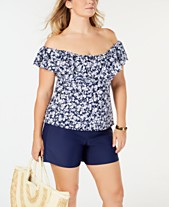 33ee6d0692ac3 Island Escape Plus Size Printed Swim Top   Shorts