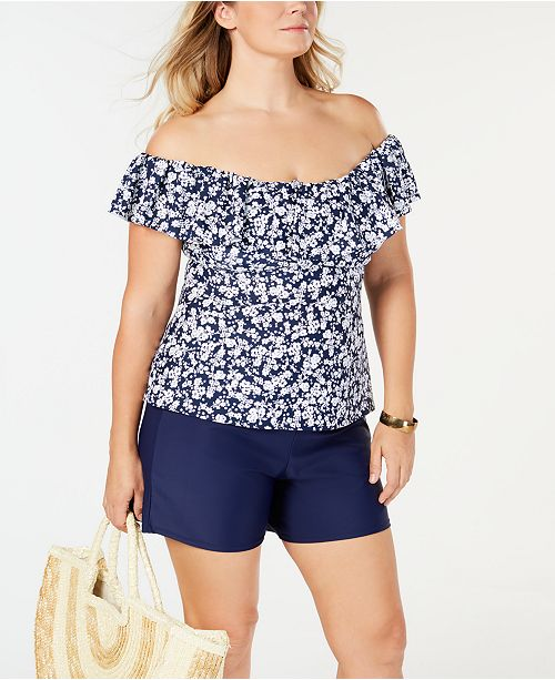d2b0f1cf5f83a ... Island Escape Plus Size Printed Swim Top & Shorts, Created for Macy's  ...