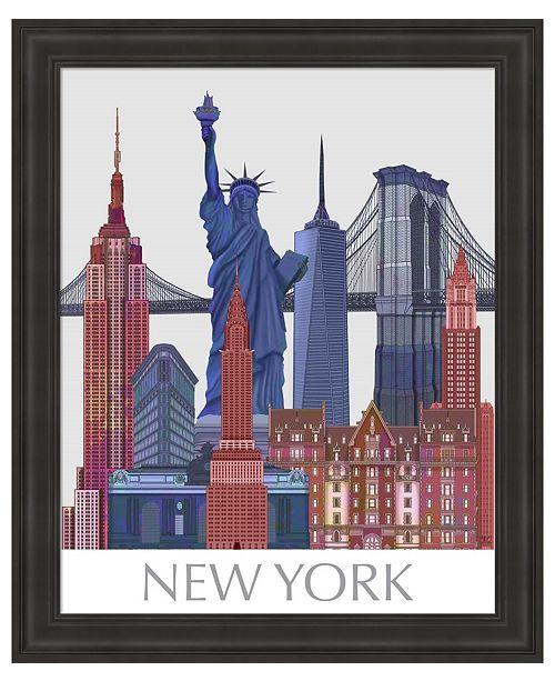 Metaverse New York Landmarks , Red Blue by Fab Funky Framed Art