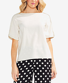 Vince Camuto Envelope-Sleeve Contrast-Stitch Top