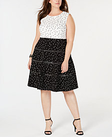 Taylor Plus Size Polka-Dot Fit & Flare Dress