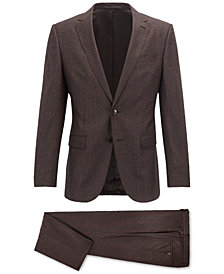 BOSS Men's Slim-Fit Checked Virgin Wool Suit