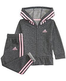 adidas Little Girls 2-Pc. Sparkle French Terry Jacket & Jogger Pants Set