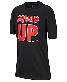 Nike Big Boys Squad-Print Cotton T-Shirt