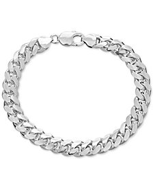 Men's Cuban Link Chain Bracelet in Sterling Silver