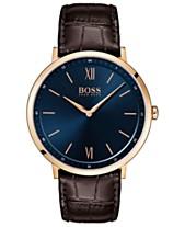 cbc194581 BOSS Hugo Boss Men's Essential Ultra Slim Brown Leather Strap Watch 40mm