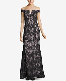 XSCAPE Off-The-Shoulder Lace Evening Gown