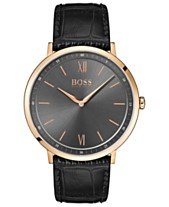 13d8160ad BOSS Hugo Boss Men's Essential Ultra Slim Black Leather Strap Watch 40mm