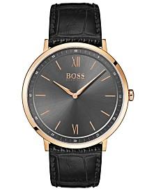 BOSS Hugo Boss Men's Essential Ultra Slim Black Leather Strap Watch 40mm