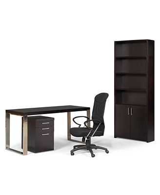 Stockholm Home Office Furniture, 4 Piece Set (Desk, Chair, File Cabinet, and Bookcase with Doors)
