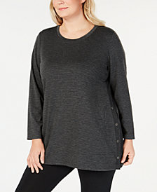 Ideology Plus Size Striped Side-Snap Tunic, Created for Macy's