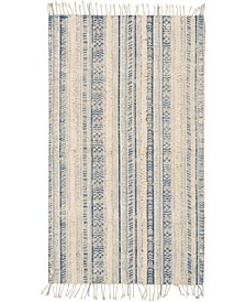 """Tribal Chic Ivory Blue 27"""" x 45"""" Accent Rug"""