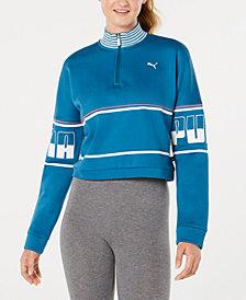 Puma Rebel Turtleneck Half-Zip Cropped Sweatshirt