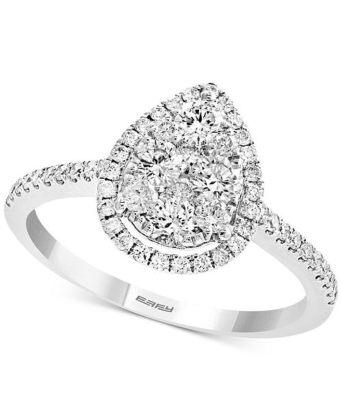 EFFY Collection Diamond Teardrop Halo Ring (3/4 ct. t.w.) in 14k White Gold