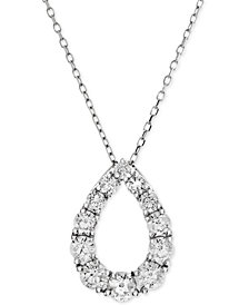 Diamond Open Teardrop Adjustable Pendant Necklace (1-1/6 ct. t.w.) in 14k White Gold