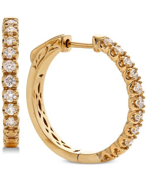 Macy's Diamond Hoop Earrings (5/8 ct. t.w.) in 14k Gold