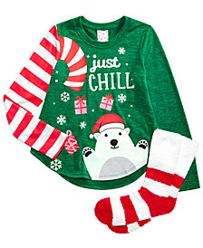 Self Esteem Big Girls 2-Pc. Holiday Top & Socks Set