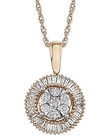 Diamond Halo Cluster Adjustable Pendant Necklace (1/3 ct. t.w.) in 14k Yellow & White Gold