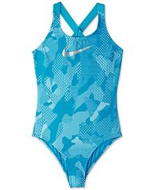 Nike Big Girls 1-Pc. Optic Camo Crossback Swimsuit