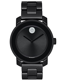 Women's Swiss BOLD Black Ceramic & Stainless Steel Bracelet Watch 36mm