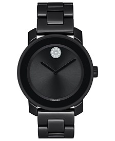 Movado Women's Swiss BOLD Black Ceramic & Stainless Steel Bracelet Watch 36mm