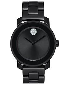 Movado Women's Swiss BOLD Black Ceramic & Stainless Steel Bracelet Watch 36mm