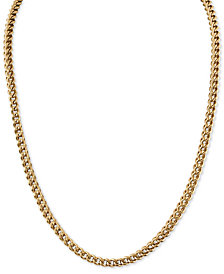 "Esquire Men's Jewelry 22"" Fox Chain Necklace in Gold-Tone Ion-Plated Stainless Steel, Created for Macy's"