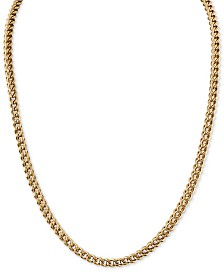 "Esquire Men's Jewelry 22"" Foxtail Chain Necklace in Gold-Tone Ion-Plated Stainless Steel, Created for Macy's"