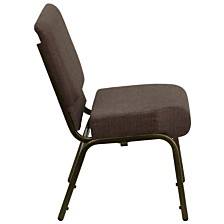 Hercules Series 21''W Stacking Church Chair In Brown Fabric - Gold Vein Frame