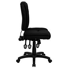 Mid-Back Black Fabric Multifunction Ergonomic Swivel Task Chair