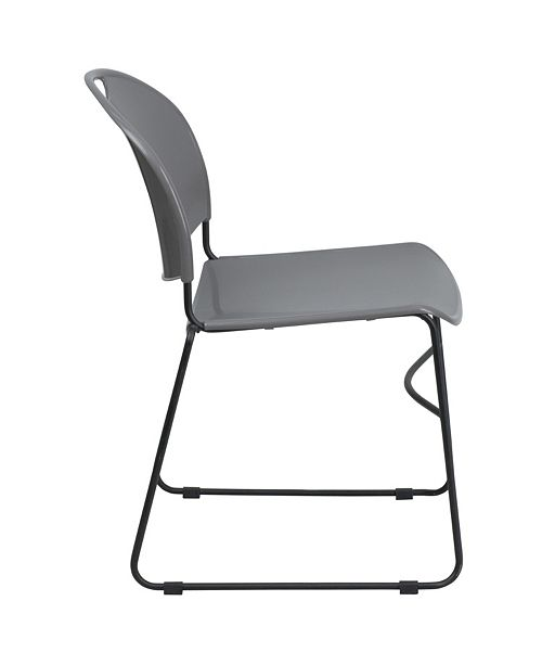 Hercules Series 880 Lb Capacity Gray Ultra Compact Stack Chair With Black Frame