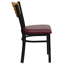 Hercules Series Black Slat Back Metal Restaurant Chair - Natural Wood Back, Burgundy Vinyl Seat