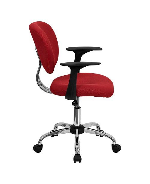 Flash Furniture Mid-Back Red Mesh Swivel Task Chair With Chrome Base And Arms
